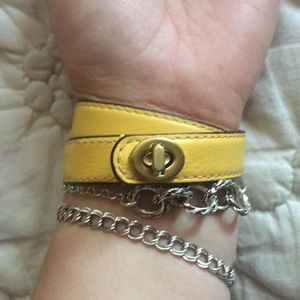 Coach Mustard Yellow Leather Wrap Bracelet